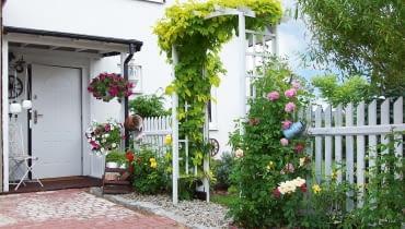 Przy domu w sezonie bujnie rosną kwiaty. Obrośnięta pnączami pergola to wejście do przydomowego ogródka.