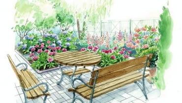 Projekt ogrodu z ukośną ścieżką
