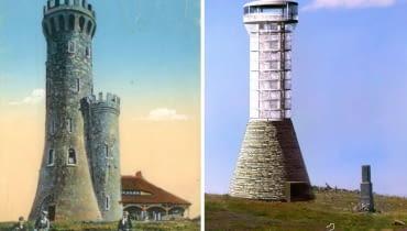 Z lewej: Wieża widokowa na Śnieżniku - pocztówka z początku XX wieku. Z prawej: projekt odbudowy wieży
