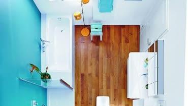 łazienka, projektowanie łazienki, wanna, prysznic, drewno w łazience