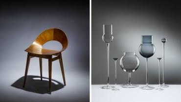 """Z lewej: krzesło """"Muszelka"""", 1956 rok,  Teresa Kruszewska/ Z prawej: zestaw kieliszków, 2008 rok, Katarzyna Gemborys"""