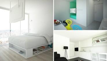małe mieszkanie, kawalerka, bardzo małe mieszkanie, nowoczesne małe mieszkanie