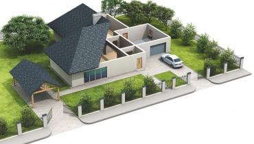 Dom jednorodzinny z garażem na poziomie parteru oraz z wiatą