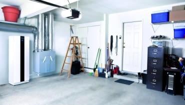 +Clean empty swept interior suburban garage.