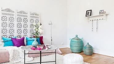 małe mieszkanie, orientalny styl, jasne mieszkanie, jak urządzić małe mieszkanie