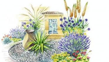 Do ogrodów w stylu śródziemnomorskim poleca się rośliny znoszące okresy suszy.