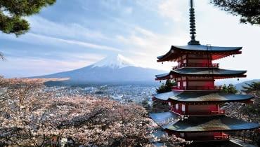 Kwitnące wiśnie, wyniosła pagoda i święta góra Fuji - to widok, który kojarzy się z Japonią