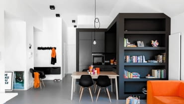 mieszkanie, wystrój wnętrz, urządzanie wnętrz, czarno-białe mieszkanie