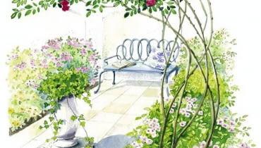 Głównymi bohaterkami tradycyjnych ogrodów romantycznych są róże - nie tylko na rabatach, ale także pergolach, płotach, gankach.