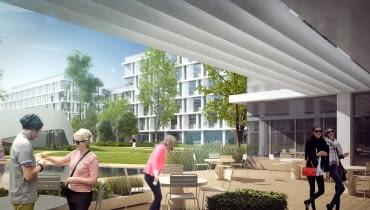 Tak mogłyby wyglądać biurowce na terenie gdańskiego Airport City. Koncepcja JSK Architekci.