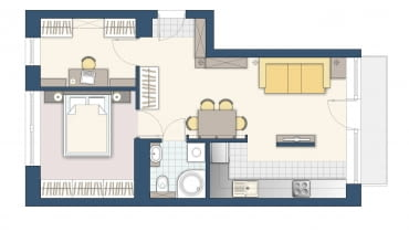 Plan mieszkania, 48 m kw.
