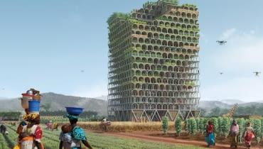 Mashambas - projekt mobilnego wieżowca w Afryce. Zwycięski projekt w międzynarodowym konkursie magazynu Evolo. Autorzy: Paweł Lipiński i Mateusz Frankowski