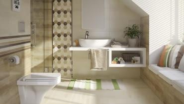 łazienka, skosy, poddasze, wyposażenie łazienki