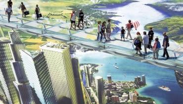 Mural 3D wykonany przez francuskiego artystę Francois Abelanet w Lyonie.