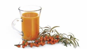 Kwaskowaty sok z rokitnika zmieszany z nektarem pomarańczowym daje odżywczy napój o ciekawym smaku