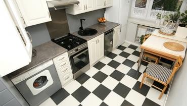 aranżacja kuchni, meble kuchenne, malowanie mebli, malowanie płytek
