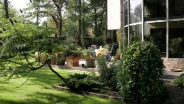 Najważniejszym punktem tego ogrodu jest taras - niski, pozbawiony murków czy barierek. Zieleń przenika się tu z architekturą.