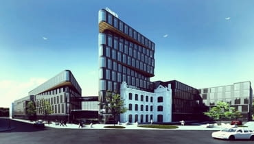 Wizualizacja nowej siedziby firmy Comarch, która powstanie na rogu ulic Jaracza i Uniwersyteckiej w Łodzi