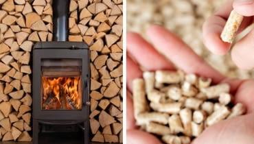 W piecach kominkowych najczęściej pali się drewnem lub peletami