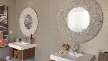 lustro, płytki ścienne, umywalki, łazienka
