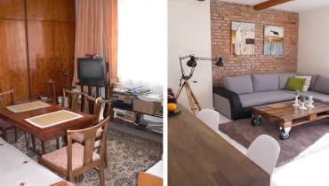 Kawalerka przed i po, małe mieszkanie, urządzanie wnętrz, wystrój wnętrz