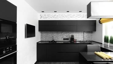 Czarne i białe dodatki w kuchni.