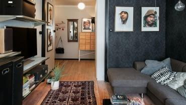 mieszkanie w męskim stylu, mieszkanie dla singla, mieszkanie w męskim charakterze, mieszkanie dla mężczyzny, ciemne kolory w mieszkaniu