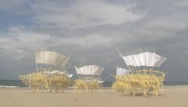 Tajemnicze konstrukcje stworzył artysta Theo Jansen