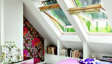 sypialnia, okna dachowe
