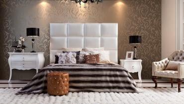 Stylowa sypialnia, łóżko z zagłówkiem