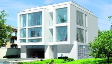 Elewacja frontowa, dom z dwupiętrową częścią dzienną