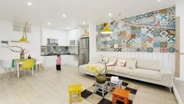 kolorowe płytki, wzorzyste płytki, płytki jak ze starej kamienicy, różne płytki w mieszkaniu, płytki design