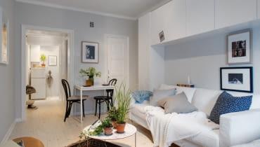 małe mieszkanie, kawalerka, mieszkanie w skandynawskim stylu