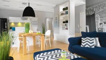 Pokój dzienny, kuchnia i przedpokój tworzą otwartą przestrzeń z wyraźnie wyodrębnionymi strefami o różnej funkcji.