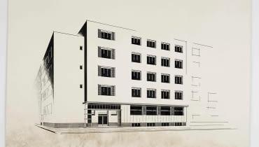 Andrzej Nitsch, projekt małego hotelu, widok perspektywiczny, praca studencka, ok. 1930, tusz na kartonie, zbiory Muzeum Architektury we Wrocławiu