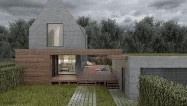 Dom z dziedzińcem - wizualizacja