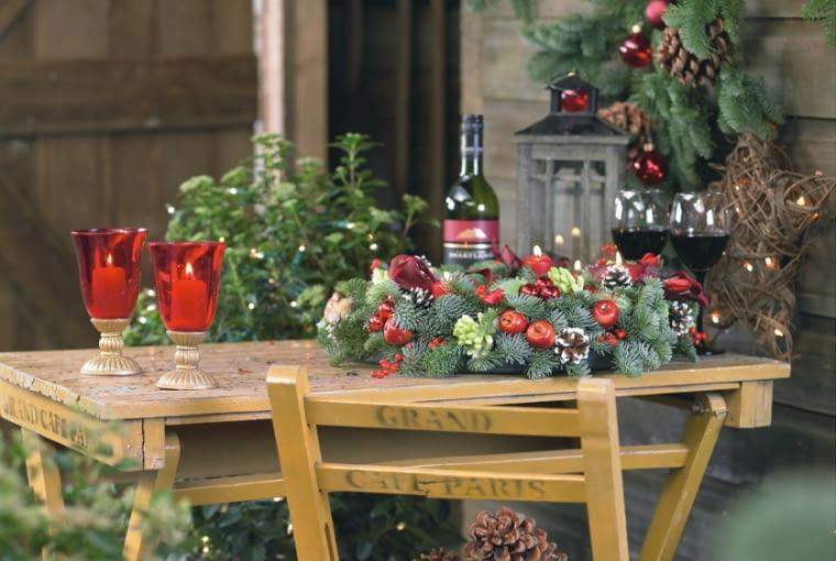Christmas wreath on table