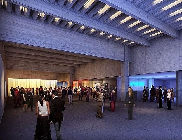 Wnętrza muzeum charakteryzują się betonową surowością, przestronnością. Oświetlenie ukryte jest w szczelinach pomiędzy żebrami stropu.