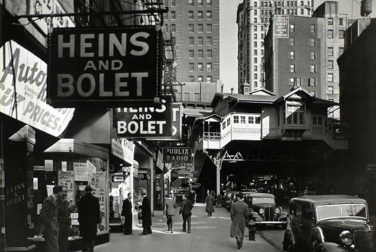 Cortlandt Street na Manhattanie, 8 kwietnia 1936 r.