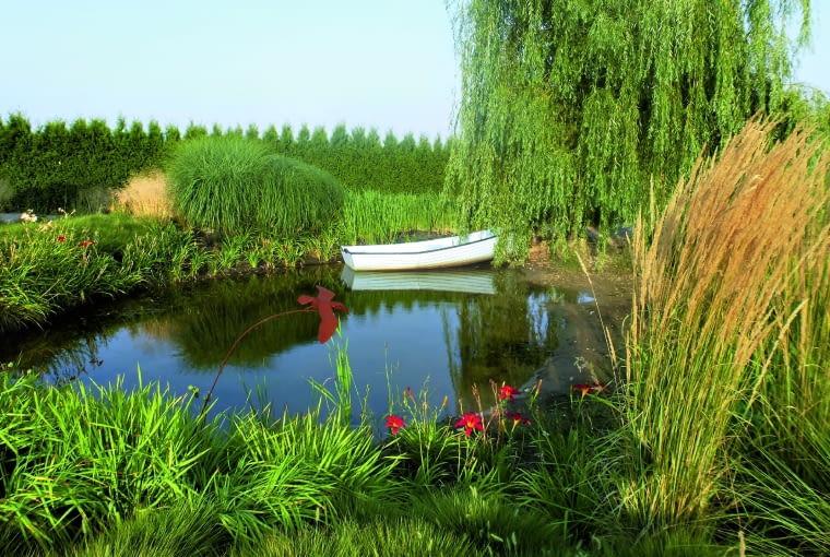 Nad stawem królują trawy ozdobne, wiosną jego brzegi porastają kosaćce, latem zakwitają liliowce.