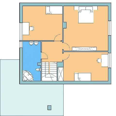 Dom z przestrzenią gospodarczą, rzut piętra