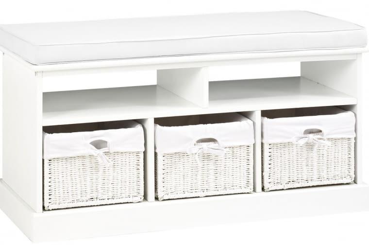 Ława Oure z trzema szufladami i białą poduszką na siedzisku,95 x 44 x 35 cm, Jysk, cena: 499 zł