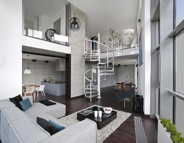 loft,antresola,schody kręcone,schody stalowe,schody,aranżacja wnętrz