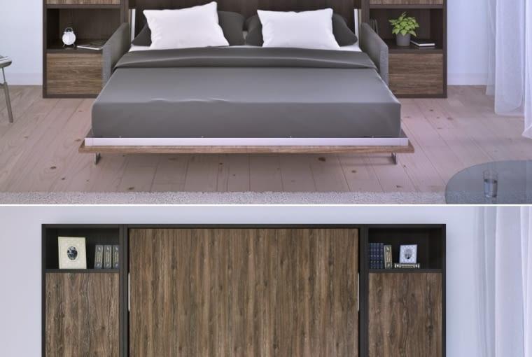Składane łóżko w salonie, szafy