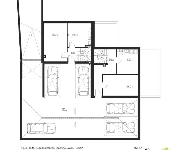 Dom dwurodzinny w Gdyni z podziemną halą garażową - rzut piwnicy