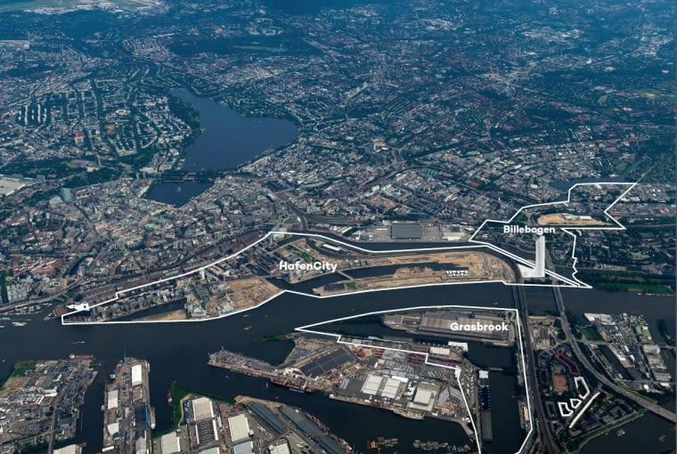 Plan terenów portu rzecznego w Hamburgu. Na zdjęciu widoczny jest budynek filharmonii i planowany wieżowiec Elbtower.