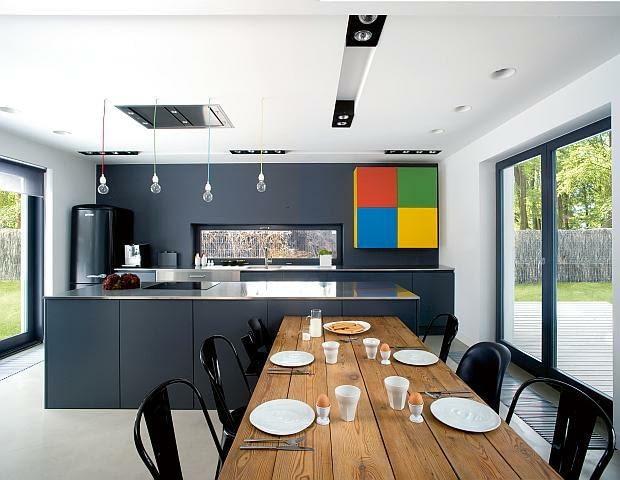 nowoczesny dom, realizacje domów, kuchnia, jadalnia
