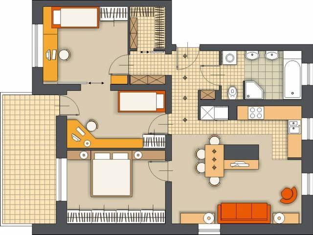 Propozycja 2. Proponuję zamienić miejscami łazienkę i kuchnię, a tę otworzyć na pokój dzienny - powstanie przestronna część dzienna. Dwa pokoje połączone przejściem przeznaczyłam dla dzieci; przesuwane drzwi między pomieszczeniami zapewniają dzieciom kontakt i jednocześnie dają możliwość odizolowania się.