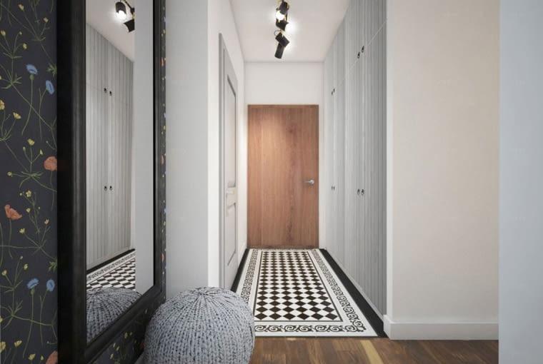 W korytarzu wykorzystano efektowne zdobienia: podłogę w szachownicę, czarne lampy w industrialnym stylu oraz pleciony puf.