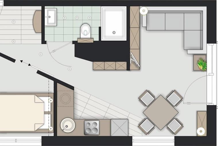 Rozwiązanie 2 <BR />Po przeniesieniu łazienki kształt przedpokoju się zmienił. Kuchnia jest nadal otwarta, ale nie sąsiaduje bezpośrednio z częścią wypoczynkową.